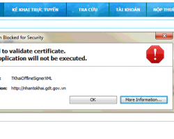 Lỗi Failed to validate certificate. The application will not be executed